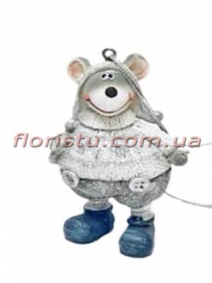 Декоративная фигурка-подвеска из полистоуна Мышонок в свитере 7 см