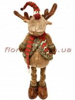 Новогодняя мягкая игрушка Олень коричневый 90 см