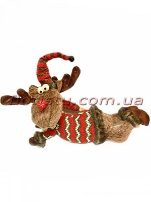 Новогодняя мягкая игрушка Олень коричневый лежит 45 см