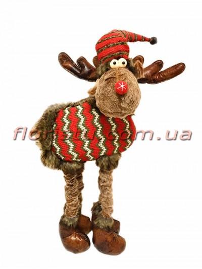 Новогодняя мягкая игрушка Олень коричневый 65 см