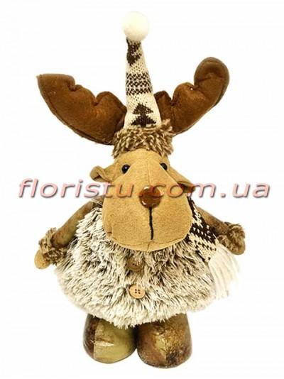 Новогодняя мягкая игрушка Олень в шубке 35 см №2
