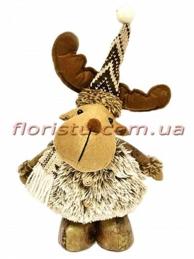 Новогодняя мягкая игрушка Олень в шубке 35 см №1