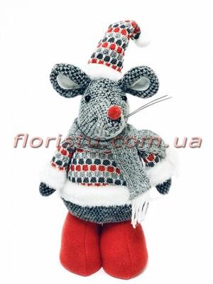 Новогодняя мышка в свитере 30 см №1