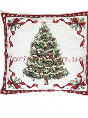 Новогодняя велюрово-гобеленовая подушка EMILY HOME 45*45 см №17