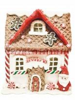 Новогодняя фигура из полистоуна Пряничный домик с Сантой 16 см