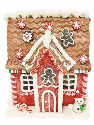 Новогодняя фигура из полистоуна Пряничный домик со снеговиком 16 см