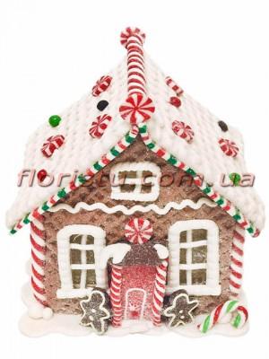 Новогодняя фигура из полистоуна Пряничный домик 14 см
