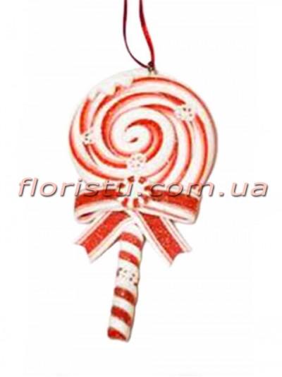 Новогодний подвесной декор из полистоуна Леденец 13 см №2