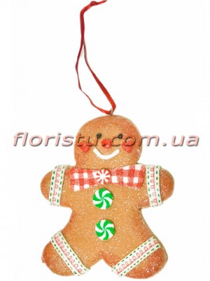 Новогодний подвесной декор из полистоуна Пряничный Мальчик 10 см