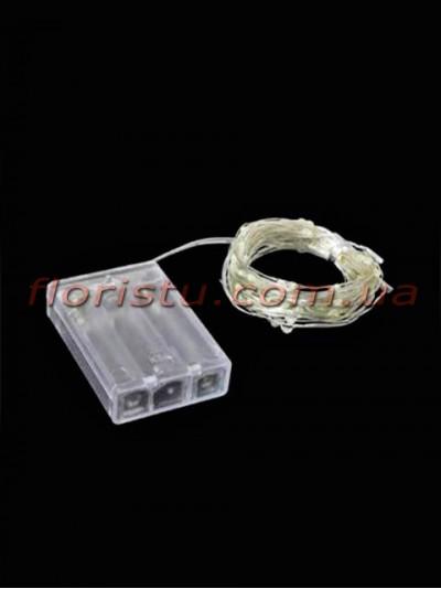 Гирлянда LED на батарейках Теплый свет 10 м
