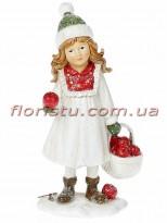 Новогодняя статуэтка из полистоуна Девочка с яблоками 12 см