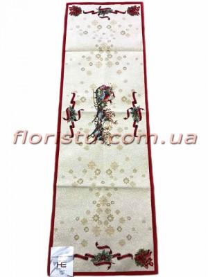 Новогодняя гобеленовая скатерть-раннер EMILY HOME 45*140 см №12