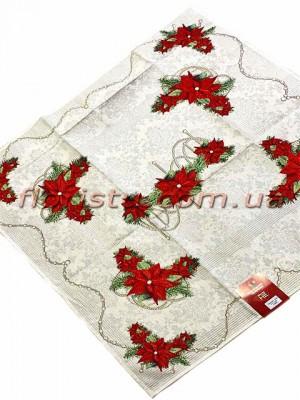 Новогодняя гобеленовая скатерть EMILY HOME 100*100 см №8