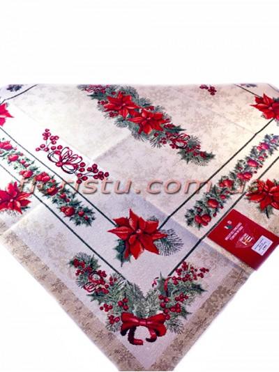 Новогодняя гобеленовая скатерть EMILY HOME 90*90 см №6 Серебро