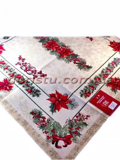 Новогодняя гобеленовая скатерть EMILY HOME 140*140 см №6 Серебро