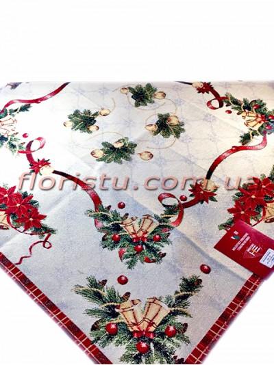 Новогодняя гобеленовая скатерть EMILY HOME 140*140 см №2 Серебро