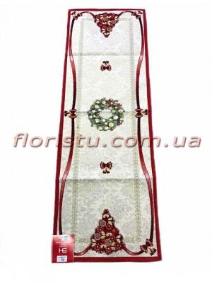 Новогодняя гобеленовая скатерть-раннер EMILY HOME 45*90 см №3 Серебро