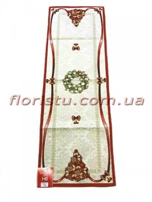 Новогодняя гобеленовая скатерть-раннер EMILY HOME 45*90 см №3 Золото