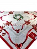 Новогодняя гобеленовая скатерть EMILY HOME 90*90 см №3 Серебро