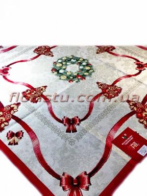 Новогодняя гобеленовая скатерть EMILY HOME 140*140 см №3 Серебро