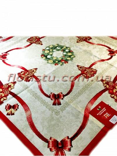 Новогодняя гобеленовая скатерть EMILY HOME 140*140 см №3 Золото
