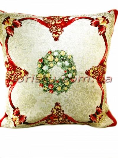 Новогодняя гобеленовая подушка EMILY HOME 45*45 см №3 Золото