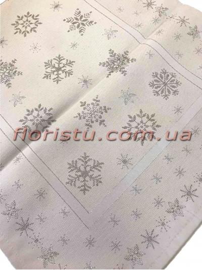 Новогодняя гобеленовая скатерть EMILY HOME 140*140 см №18 Белая