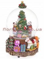 Новогодний водяной шар Ёлка с подарками с заводным механизмом и музыкой 16,5 см