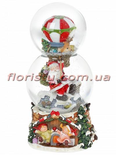 Новогодний водяной шар Санта на воздушном шаре с заводным механизмом и музыкой 21,5 см