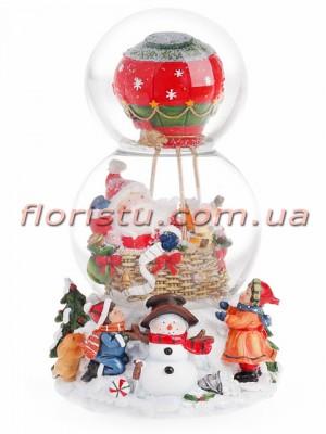 Новогодний водяной шар Санта на воздушном шаре с заводным механизмом и музыкой 20,5 см