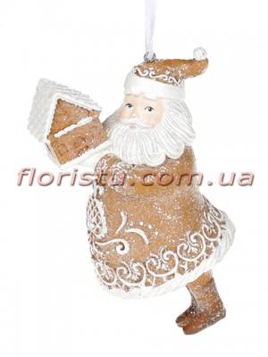 Декоративная подвесная фигурка Пряничный Санта Клаус 13 см
