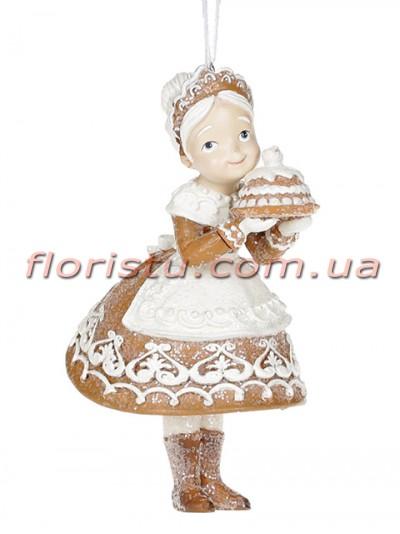 Декоративная подвесная фигурка Пряничная миссис Клаус 13 см