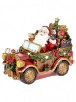 Декоративная композиция с LED подсветкой Санта в автомобиле 26 см