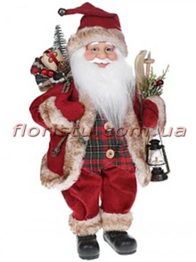 Новогодняя мягкая игрушка Санта Клаус в красном 41 см