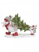 Декоративная фигурка из полистоуна Ёжики с ёлкой 12 см