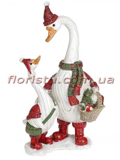Декоративная статуэтка из полистоуна Гуси Рождественские 18 см