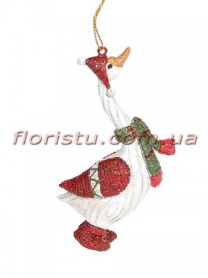 Декоративная подвесная фигурка Гусь Рождественский 11,5 см №1