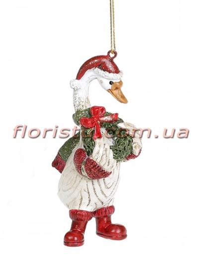Декоративная подвесная фигурка Гусь Рождественский 11,5 см №2