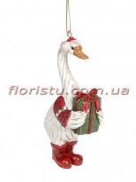 Декоративная подвесная фигурка Гусь Рождественский 11,5 см №3