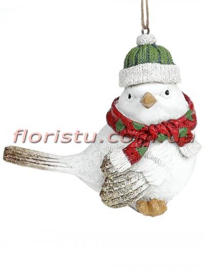 Декоративная подвесная фигурка Птичка в зеленой шапке 12 см