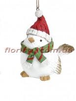 Декоративная подвесная фигурка Птичка в красной шапке 12 см