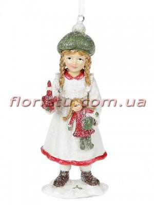 Декоративная подвесная фигурка Детки белый с красным 13 см №1