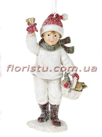 Декоративная подвесная фигурка Детки белый с красным 13 см №2