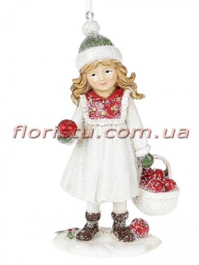 Декоративная подвесная фигурка Детки белый с красным 13 см №3