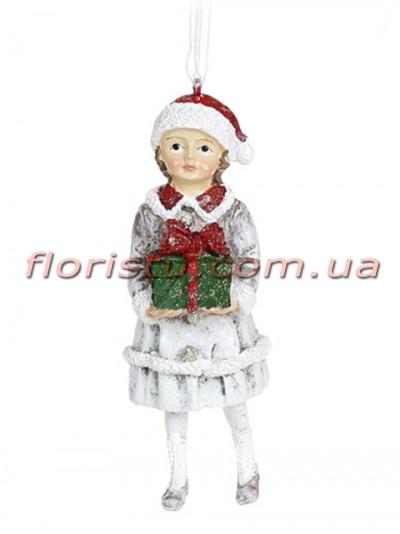 Декоративная подвесная фигурка Детки белый винтаж с красным 12 см №1
