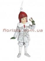 Декоративная подвесная фигурка Детки белый винтаж с красным 12 см №2