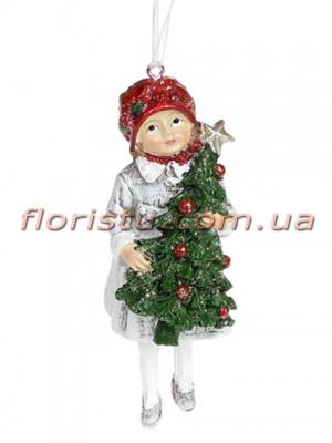 Декоративная подвесная фигурка Детки белый винтаж с красным 12 см №3