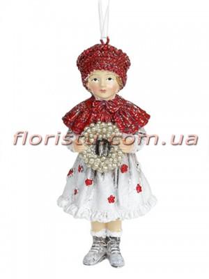 Декоративная подвесная фигурка Детки белый винтаж с красным 12 см №4