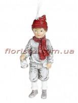 Декоративная подвесная фигурка Детки белый винтаж с красным 12 см №5