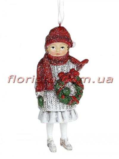 Декоративная подвесная фигурка Детки белый винтаж с красным 12 см №6